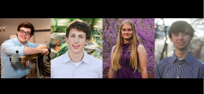 Four WKU students recognized by Goldwater scholarship program. From left: Andrew Brown and Dimitri Leggas were named Goldwater Scholars while Audrey Brown and Ben Guthrie received honorable mentions. Read more on WKU News at http://wp.me/pi4mf-8p6