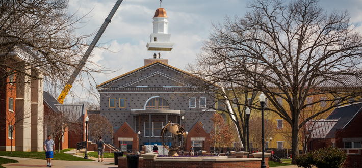 Workers placed the cupola on the WKU Honors and International Center on Wednesday, March 25. The building is expected to open in Fall 2015.