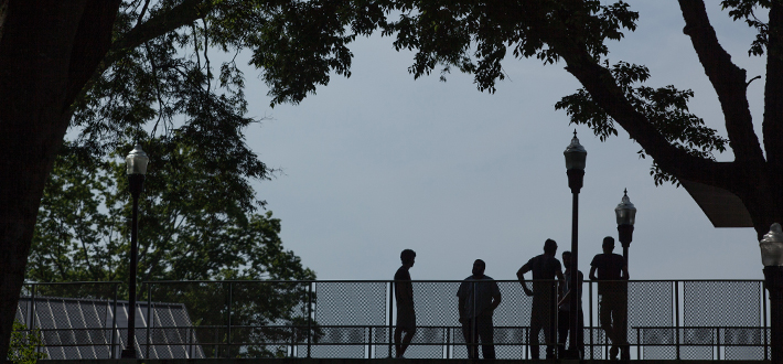 Photograph of student silhouettes