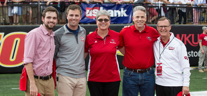 The Rhea Family (Tim and Laura, parents; Charlie, brother; nominated by son, Peyton) were named WKU Family of the Year at 2015 Parent & Family Weekend, Sept. 26. Photo courtesy Megan Stearman, WKU Athletics.