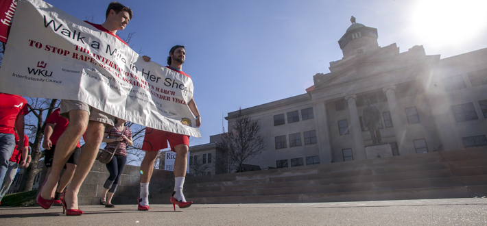 The WKU Interfraternity Council sponsored the annual Walk a Mile in Her Shoes campaign at WKU on Tuesday, March 31. Funds raised through this event benefit Hope Harbor Inc., non-profit crisis center that offers counseling and support to victims of sexual assault.