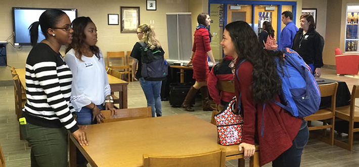 WKU students visited Warren East High School recently to speak during College Application Month as part of a service-learning partnership that will highlight students' experiences transitioning from high school to college.