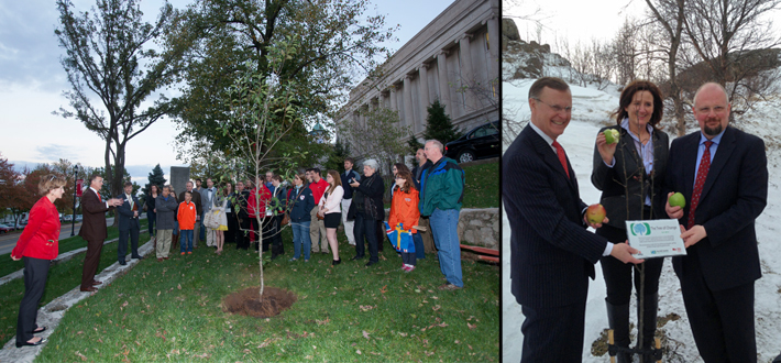 "Preceding Monday's signing ceremony in Akureyri, Iceland, members of WKU and UNAK held a short dedication ceremony where a plaque was given to UNAK on behalf of WKU students and The $100 Solution for the apple ""Tree of Change"" planted on their campus to match the one planted at WKU this past October."