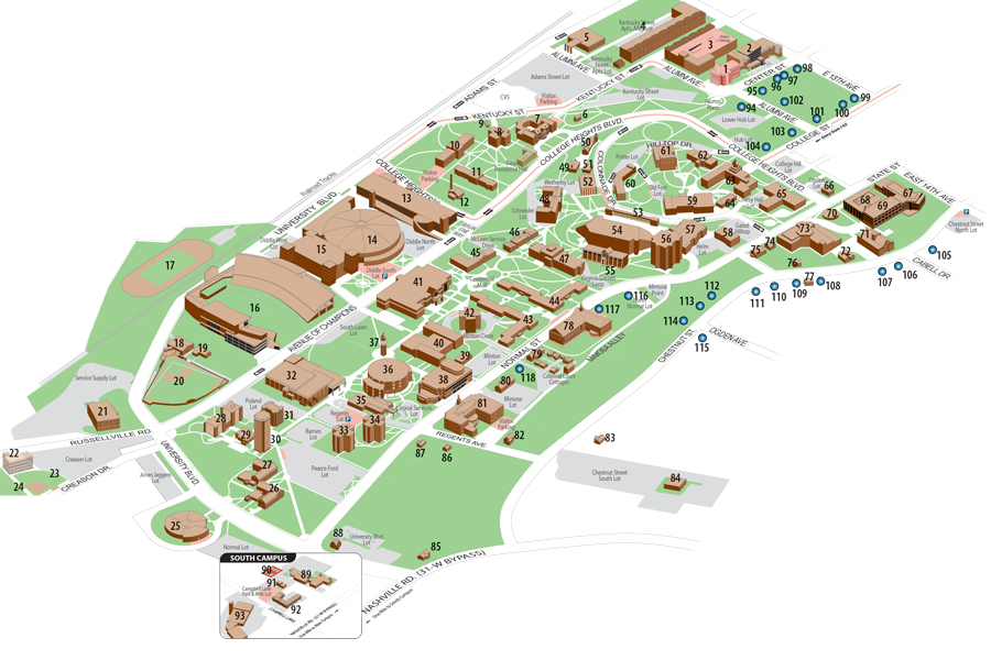 Kentucky Campus Map.Campus Map Western Kentucky University