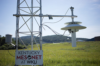 Kentucky Mesonet at WKU installing station in Monroe County