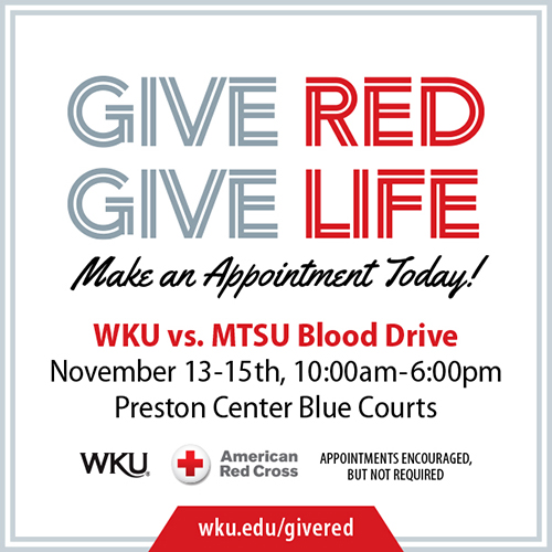 WKU vs. MTSU Blood Drive accepting appointments