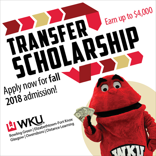 Transfer Scholarship application deadline April 1 for fall 2018 admission