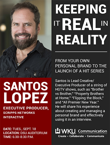 WKU graduate Santos Lopez to present 'Keeping it Real in Reality' Sept. 18