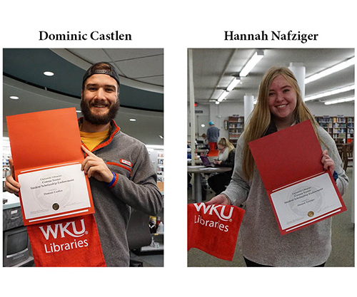 Hannah Nafziger and Dominic Castlen are first recipients of the Connie Foster Student Scholarship Endowment