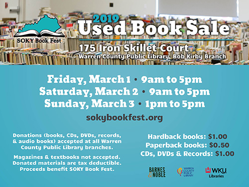 Used Book Sale March 1-3 to benefit SOKY Book Fest