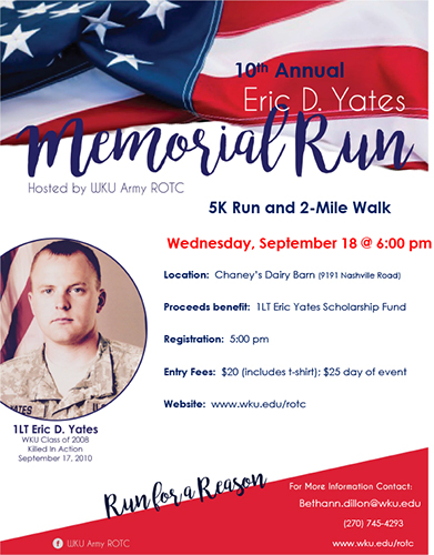 10th Annual Eric D. Yates Memorial Run set for Sept. 18