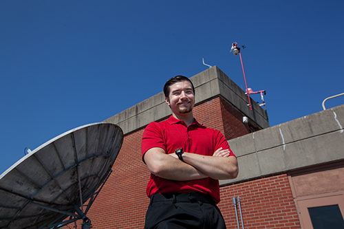 Meteorology and GIS major interns in flying laboratory