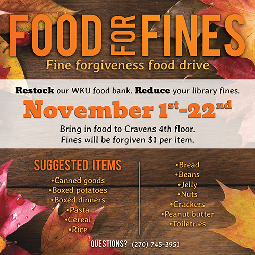 WKU Libraries forgives library fines in exchange for food and toiletries