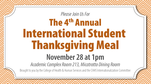 CHHS to Host 4th Annual Thanksgiving Dinner for International Students