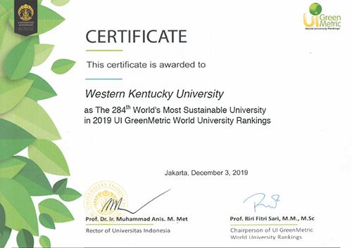 WKU's sustainability efforts earn international recognition