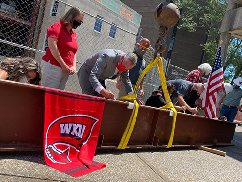 WKU Commons at Helm Library marks construction milestone