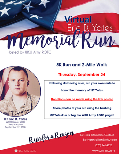 WKU ROTC to remember Eric D. Yates in virtual Memorial Run