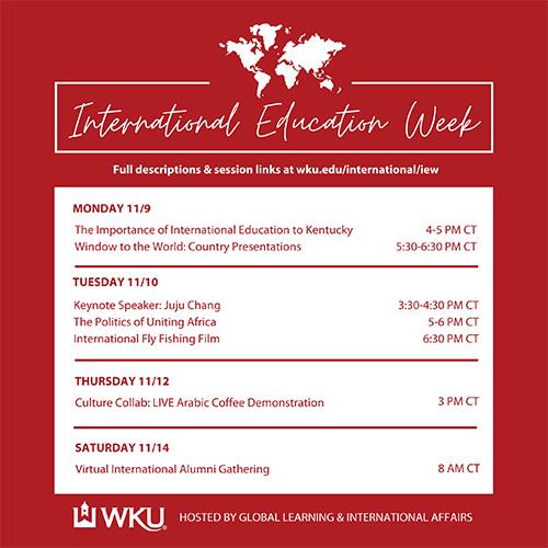 WKU to host 2020 International Education Week Nov. 9-14