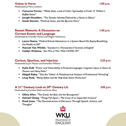 WKU English Department to Host Virtual 2020 Undergraduate Conference on Literature, Language, and Culture