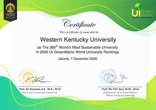 WKU sustainability efforts earn global recognition