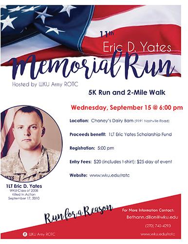 WKU ROTC to host Eric D. Yates Memorial Run Sept. 15