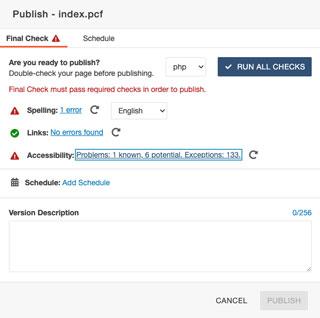 Accessibility Final Check Known Problems Prevent Publish