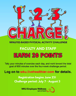 1, 2, 3 Charge! Minutes-based Physical Activity Challenge. Faculty and Staff, Earn 20 Points. Tally your minutes of exercise each day, and work toward the total goal of 600 minutes over the four-week challenge period. Log on to wku.livehealthier.com for details. Registration begins June 23! Challenge period: July 7 – August 3 WKU Employee Wellness, Spirit of Health