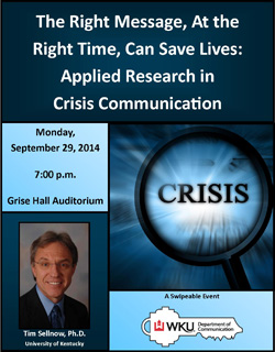 The Right Message at the Right Time can save lives: Applied Research in Crisis Communication. Monday, September 29, 2014 at 7pm at Grise Hall Auditorium Tim Sellnow, PHD University of Kentucky. A Swipeable Event presented by WKU Department of Communication