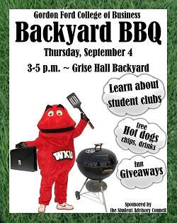 The Gordon Ford College of Business Backyard BBQ will be held Thursday, Sept. 4 from 3-5 p.m. in the Grise Hall Backyard area. Students can learn about student organizations, discover a new major, receive giveaways, and get free hotdogs, chips, and drinks.