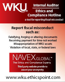 WKU Internal Auditor Ethics & Compliance Hotline – a tool for reporting fiscal misconduct. Report fiscal misconduct such as:Falsifying, forging or altering documents, Receiving payment for time not worked, Misappropriation of WKU assets, Violation of local, state, or federal laws. NAVEX Global – The Ethics and Compliance Experts. Third party website provider to assure your anonymity