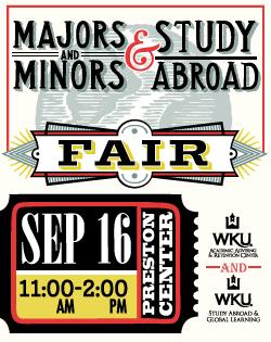 The Majors and Minors and Study Abroad fair will be on September 16th from 11:00 am – 2:00 pm at the Preston Center.
