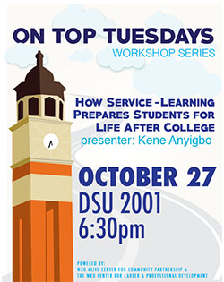 "October 27, 2015.  ""How Service Learning Prepares Students for Life after College"