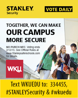 Vote Daily. Stanley Security. Together, we can make our campus more secure. No purchase necessary. Voting ends 2/13/15. See official rules at StanleySaferSchools.com for details. WKU. Text WKUEDU to 334455, #STANLEYSecurity or #wkuedu.