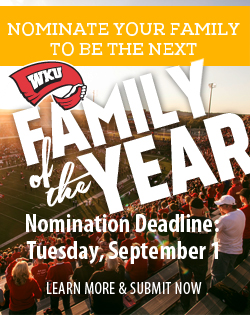 Nominate your family to be the next WKU Family of the Year! WKU Parent and Family Programs – Winning family recognized at WKU Parent and Family Weekend. Nominating student of the 2015 Family of the Year receives a scholarship! Nomination deadline: Tuesday, September 1. Learn more and submit a nomination at www.wku.edu/pfw.