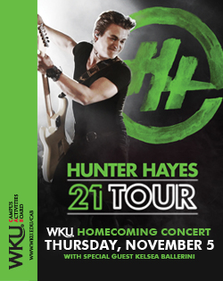 WKU Homecoming Concert. Thursday, November 5 with special guest Kelsea Ballerini. Hunter Hayes 21 Tour. Presented by WKU Campus Activities Board. wku.edu/cab. Learn more at www.wku.edu/cab.