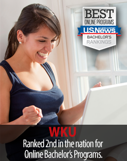 Best online programs. US News Bachelors Rankings. WKU ranked 2nd in the nation for Online Bachelor's Programs.