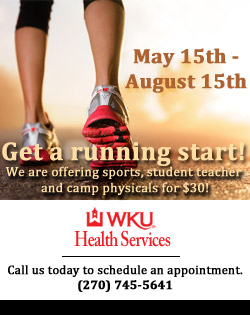 Get a running start! May 15th through August 15th. WKU Health Services is offering sports, student teacher and camp physicals for $30!To take advantage of this special opportunity, please call us today to schedule an appointment. (270) 745-5641.