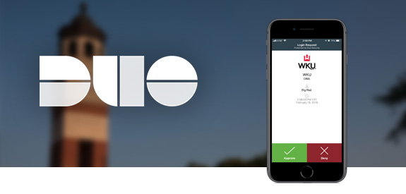 DUO logo and an iPhone with a screenshot of the DUO app over a blurred photo of Guthrie Bell Tower at WKU