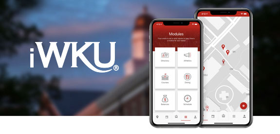 The iWKU Mobile Application on an iOS and Android device