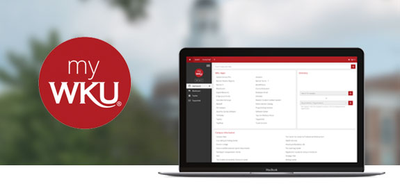 myWKU logo and website on a laptop