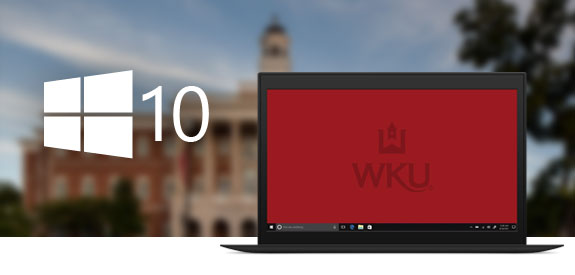 Windows 10 logo and a laptop with a WKU Desktop over a blurred photo of Gary Ransdell Hall at WKU