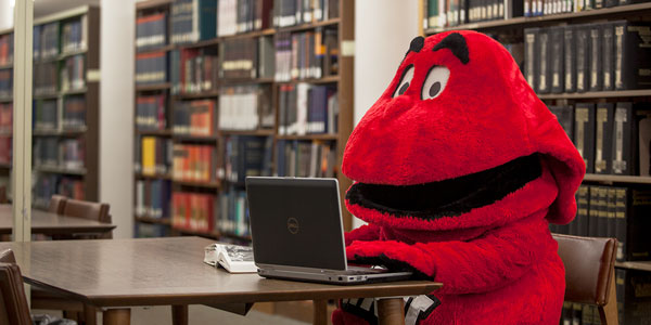 Big Red using a Laptop at a table