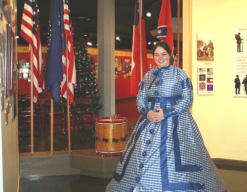 Civil War exhibit with flags and guide
