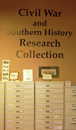 special collections Civil War and Southern History Research file cabinets