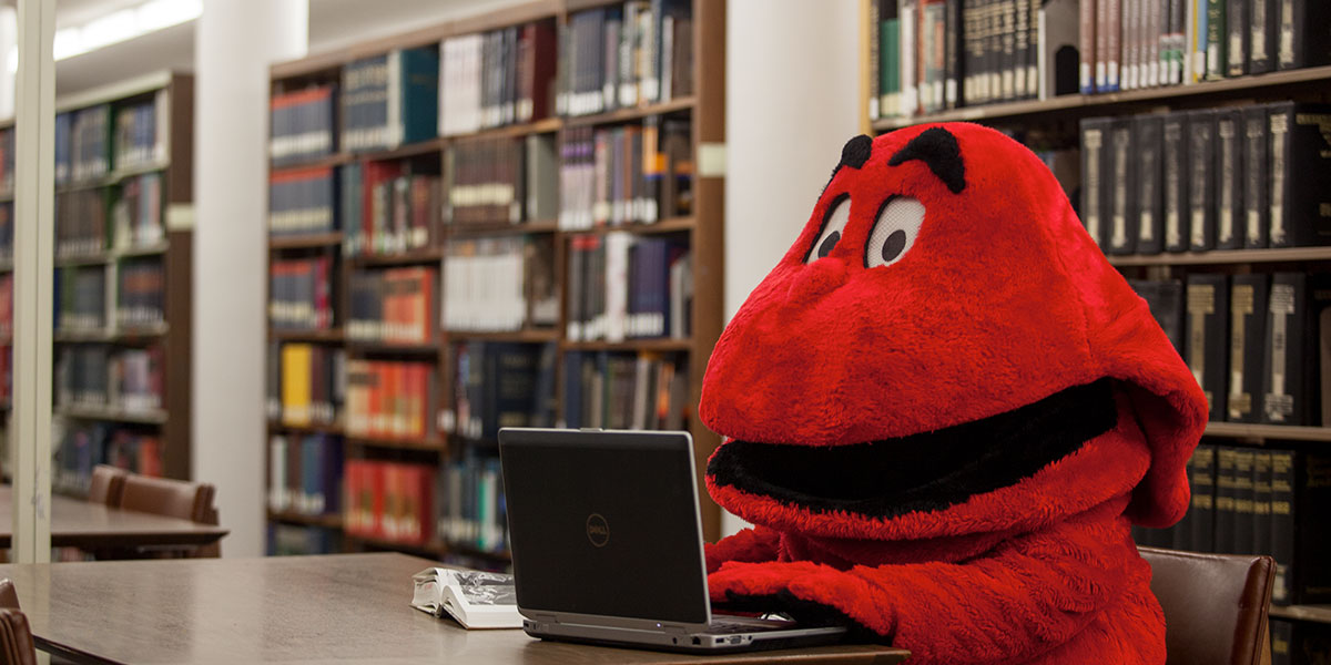 Big Red using a laptop in the library