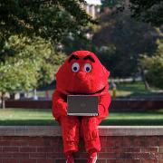 Big Red using a laptop outside