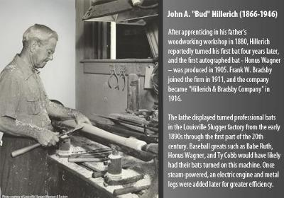 After apprenticing in his father?s woodworking workshop in 1880, Hillerich reportedly turned his first bat four years later, and the first autographed bat - Honus Wagner ? was produced in 1905.  Frank W. Bradsby joined the firm in 1911, and the company became ?Hillerich & Bradsby Company? in 1916.