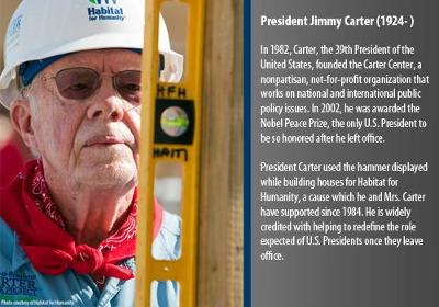 In 1982, Carter, the 39th President of the United States, founded the Carter Center, a nonpartisan, not-for-profit organization that works on national and international public policy issues.  In 2002, he was awarded the Nobel Peace Prize, the only U.S. President to be so honored after he left office.  