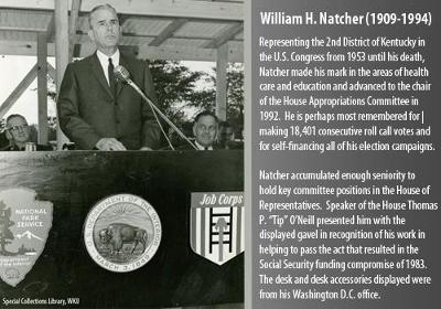 Representing the 2nd District of Kentucky in the U.S. Congress from 1953 until his death, Natcher made his mark in the areas of health care and education and advanced to the chair of the House Appropriations Committee in 1992.  He is perhaps most remembered for making 18,401 consecutive roll call votes and for self-financing all of his election campaigns.