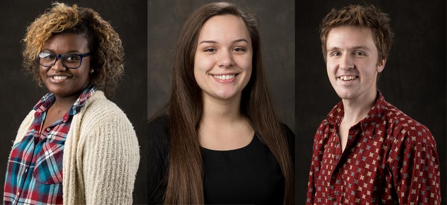Isaac Barnes, Anais Compton, and Jada Jefferson were selected as Gilman Scholars and will receive up to $8,000 to fund their study abroad programs during the spring 2018 semester. Sarah Olive was named an alternate.